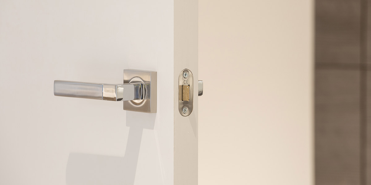 Lever handles on square roses supplied to Onyx Apartments, Kings Cross