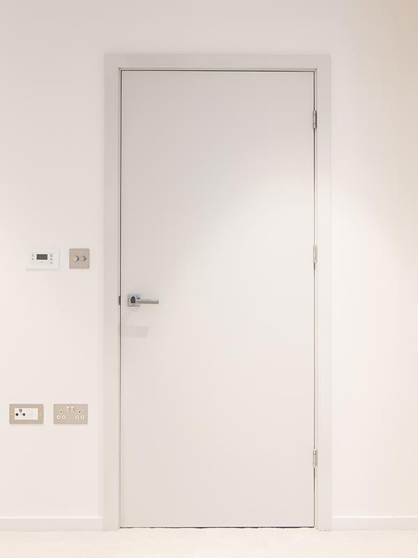 Painted doors and ironmongery supplied by Doorview Ltd to Onyx Apartments, Kings Cross